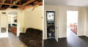 photos of distressed living area and renovated living area