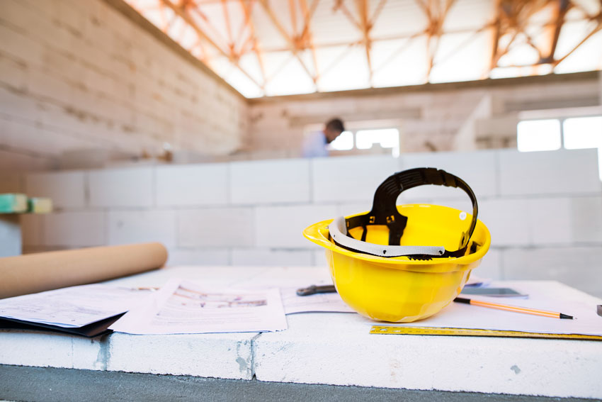 construction hat on table