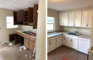 photo of distressed kitchen and renovated kitchen